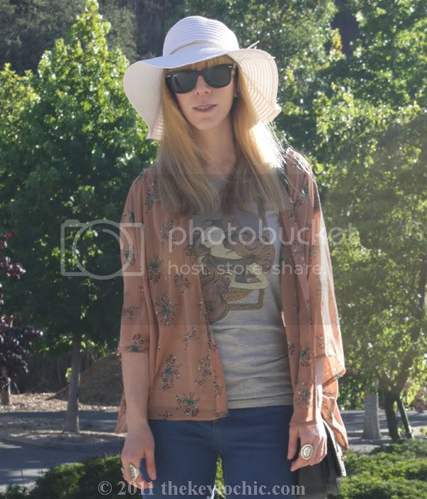 Forever 21 hummingbird kimono, flared jeans, floppy hat, Swedish Hasbeens for H&M wedges, southern California fashion blog