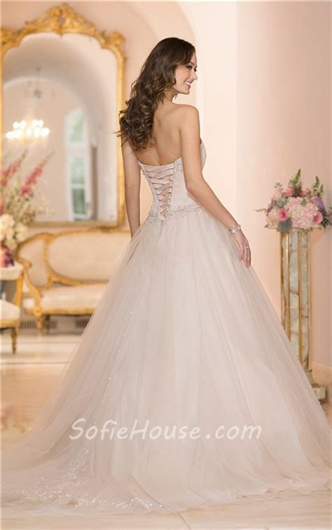 Ball Gown Strapless Blush Pink Colored Satin Tulle Wedding