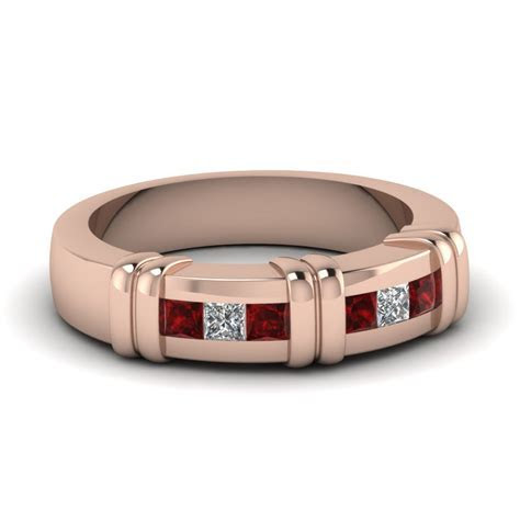 Rose Gold Princess Red Ruby Mens Wedding Ring With White