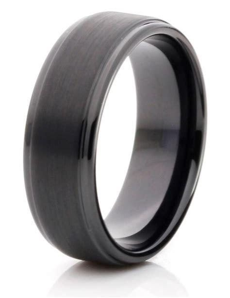 Tungsten Carbide 8mm Comfort Fit Black Band Mens Wedding
