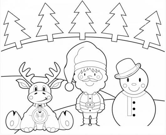 Dibujo De Santaclaus Con Un Reno Y Un Muneco De Nieve Y Varios
