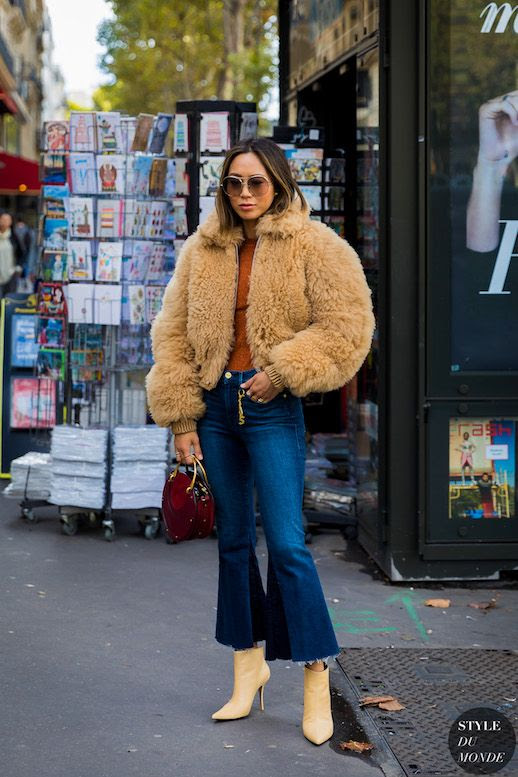 Le Fashion Blog Aimee Song Tan Teddy Coat Burnt Orange Metallic Sweater Flare Leg Cropped Jeans Beige Heeled Boots Via Style Du Monde