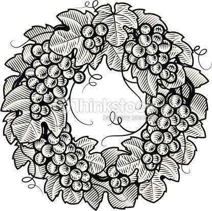 Retro Uvas Corona Blanco Y Negro Arte Vectorial Thinkstock