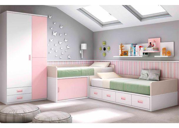 Dormitorio muebles modernos habitacion infantil dos camas - Merkamueble habitaciones juveniles ...