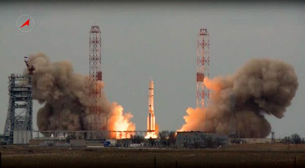 A Russian Proton-M rocket carrying Europe's ExoMars spacecraft lifts off from Kazakhstan's Baikonur Cosmodrome on March 14, 2016.