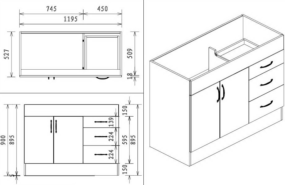 Kitchen Sink Cabinet Dimensions | amulette