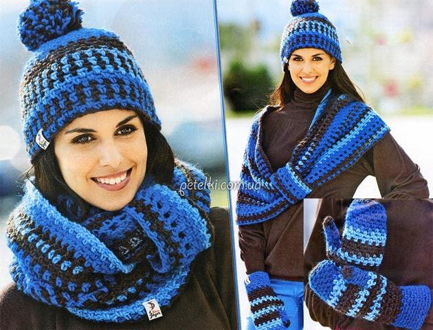 Шапка, шарф-петля и варежки крючком. Описание вязания