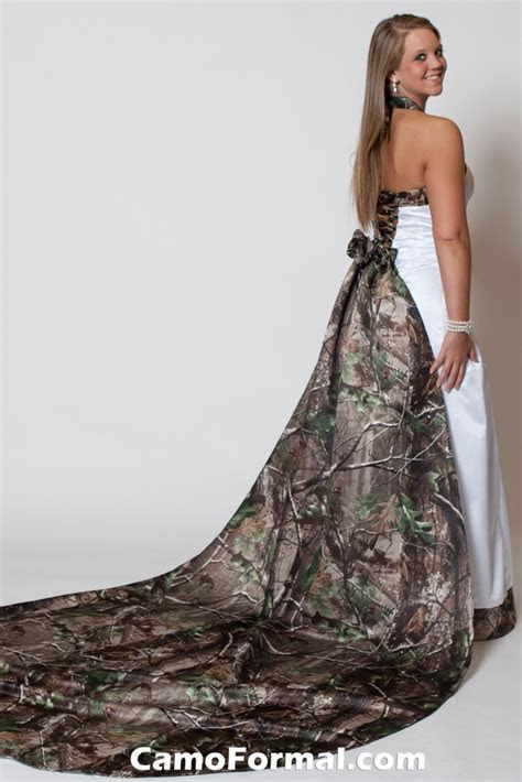 3352WT Tie Back Halter with Full Roses Train Camouflage