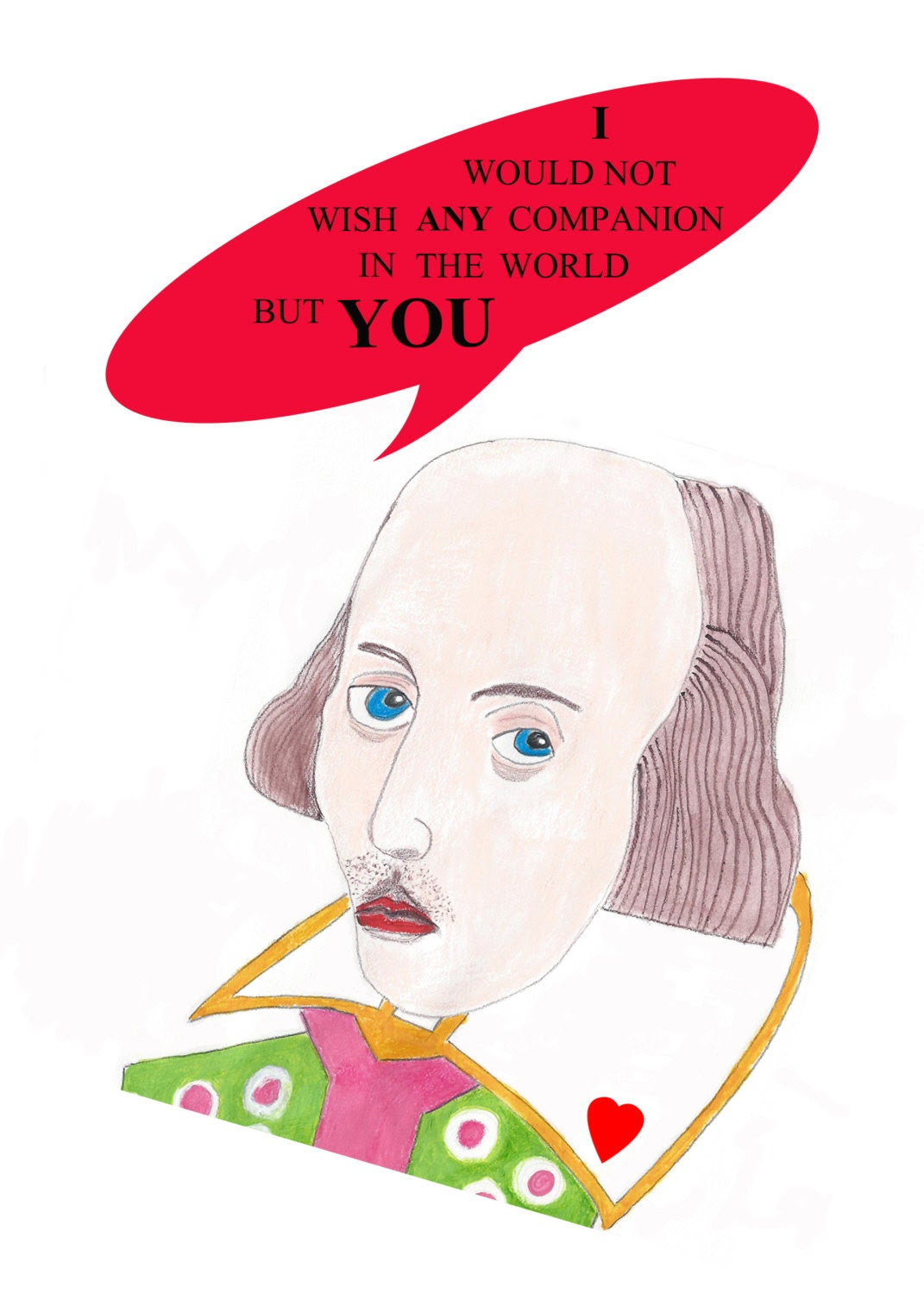 Valentine/Anniversary/Romantic Shakespeare Card, Literary Card, Quote Card, Writers Valentine, Lover Card