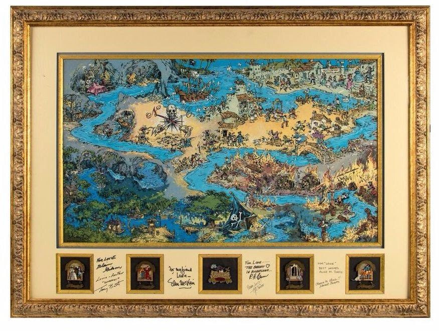 Multi Signed Pirates Of The Caribbean Lithograph Map