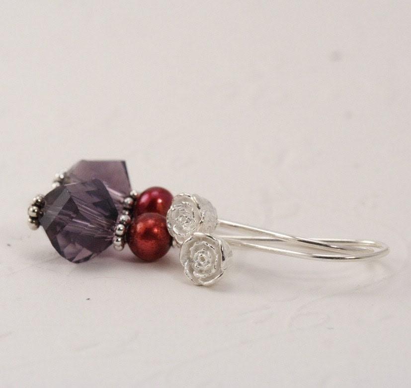 Purple and Ruby SIlver Rosebud Pearl Earrings