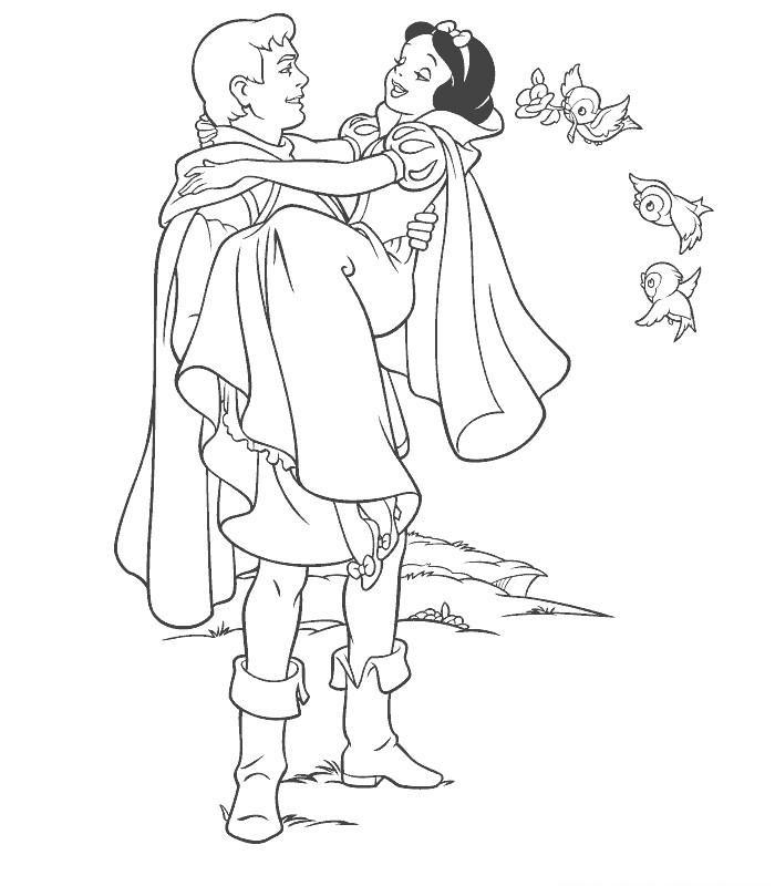 Coloriage A Imprimer Blanche Neige Dans Les Bras Du Prince Gratuit