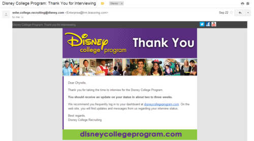 Disney College Program Thank You for Interviewing