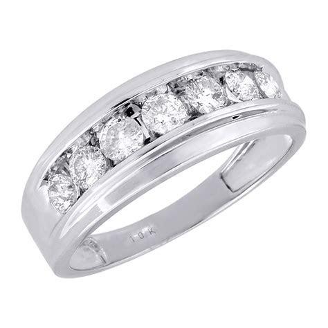 10K Mens White Gold 7 Stone Diamond Engagement Ring