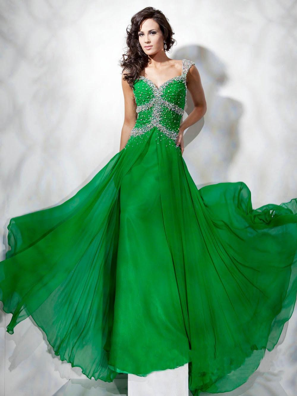 Green designer evening dresses