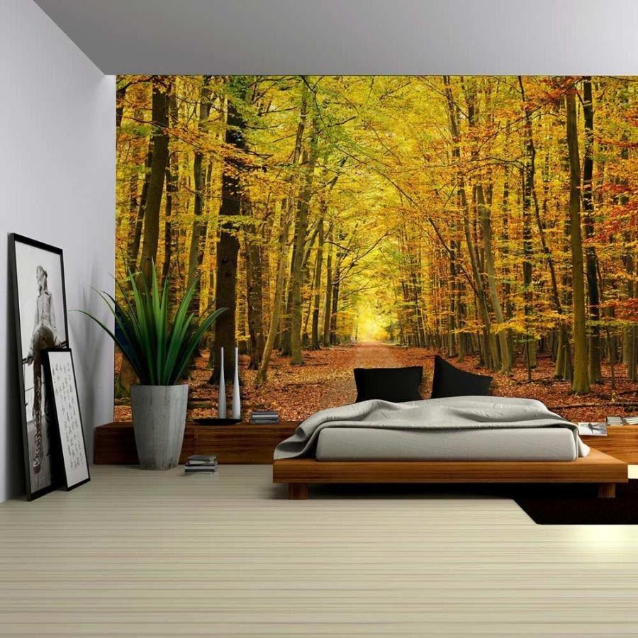 ウォールペーパー 壁紙 住宅設備 秋の森の細道 取り外し可能な壁の