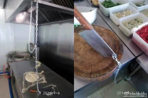 面店的刀被用铁链子锁上。(网络图征)