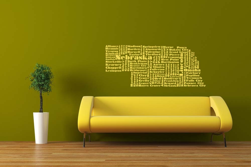Nebraska Word Cloud Vinyl Wall Lettering by VinylWallAdornments