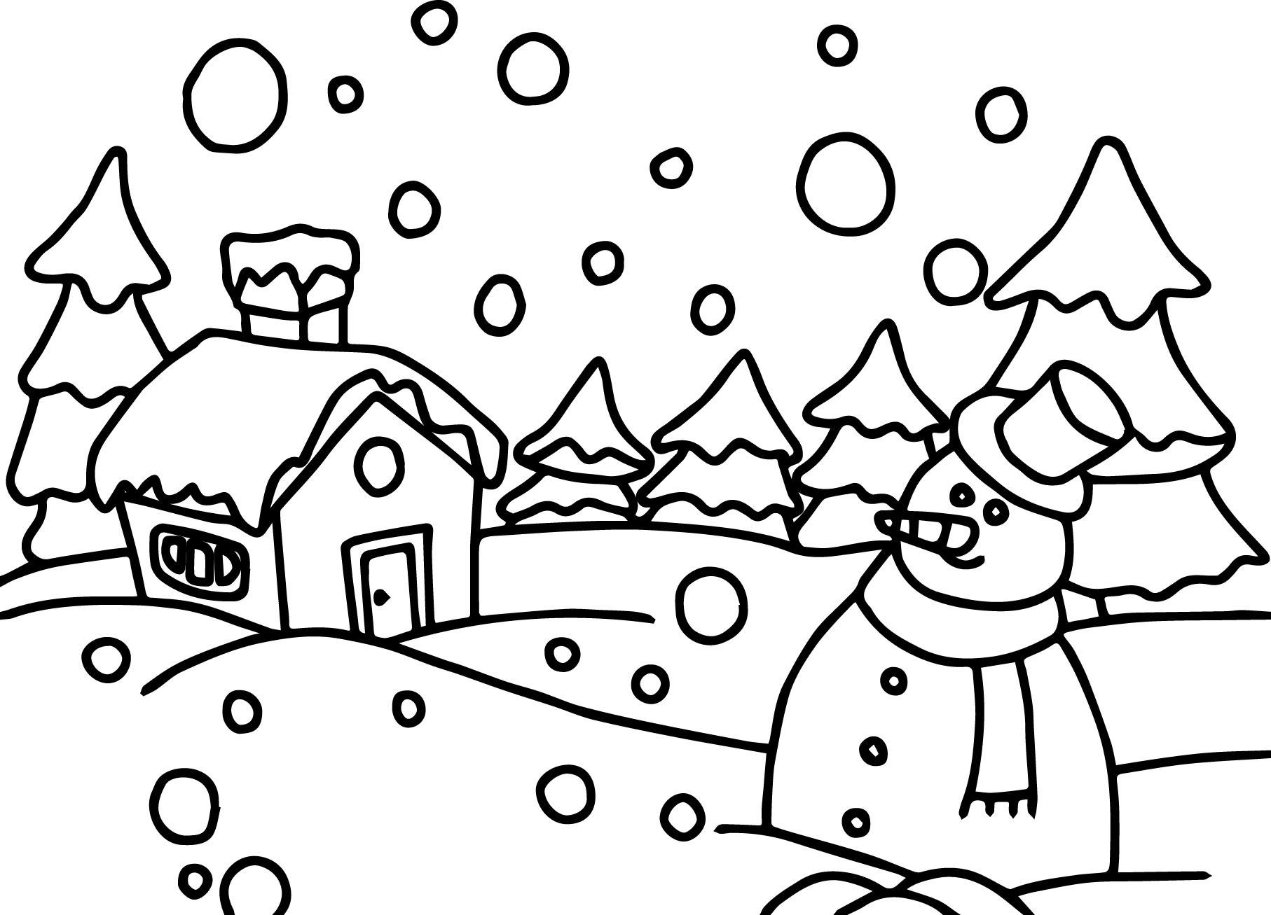 Anasınıfı Kış Mevsimi Manzara Boyama Sayfası