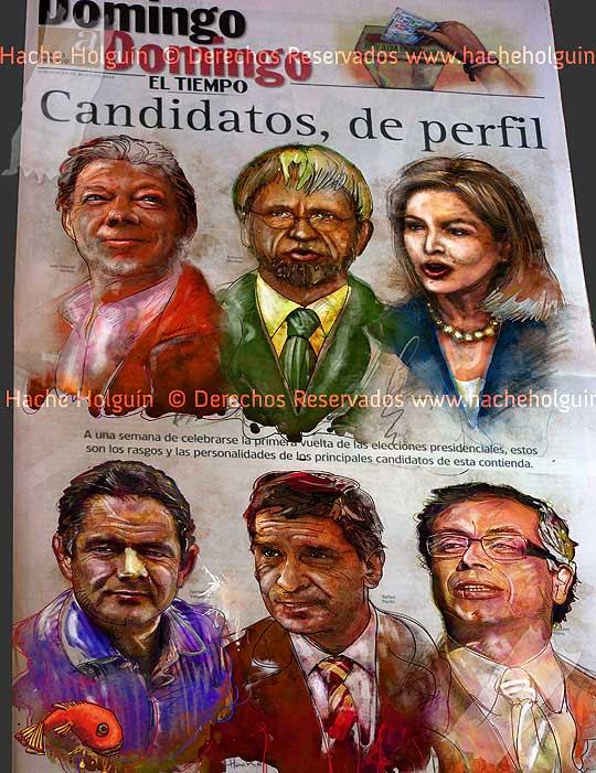 Retratos de los candidatos presidenciales 2010 para El Tiempo por Hache Holguín