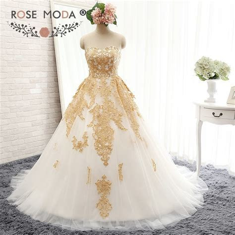 Rose Moda Luxury White and Gold Wedding Ball Gown Gold