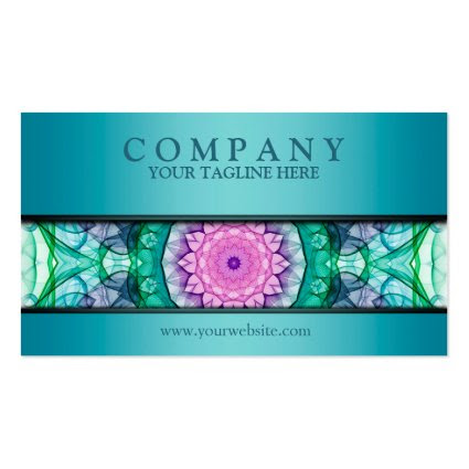 modern WaterLily mandala teal Business Card Templates