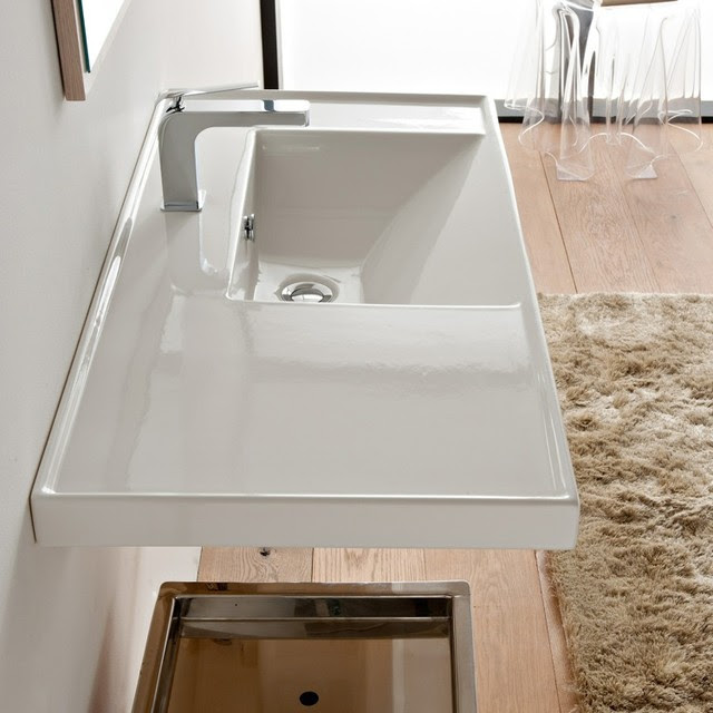 Large Rectangular White Ceramic Self Rimming or Wall Mounted Sink ...