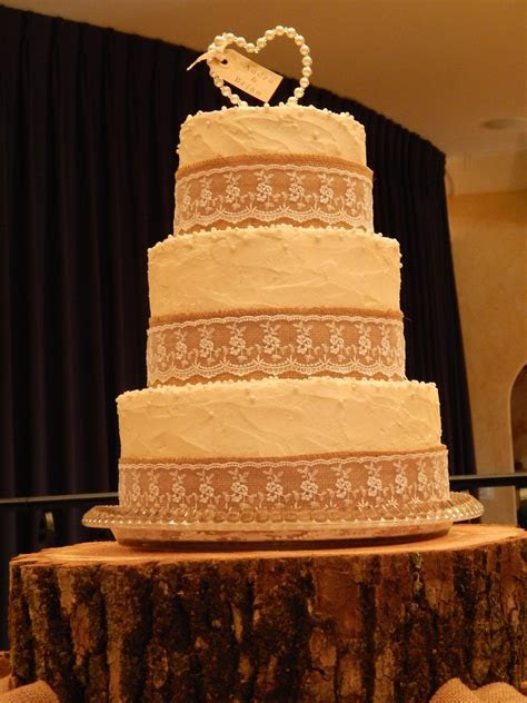 Burlap And Lace 3 Tier Wedding Cake   CakeCentral.com