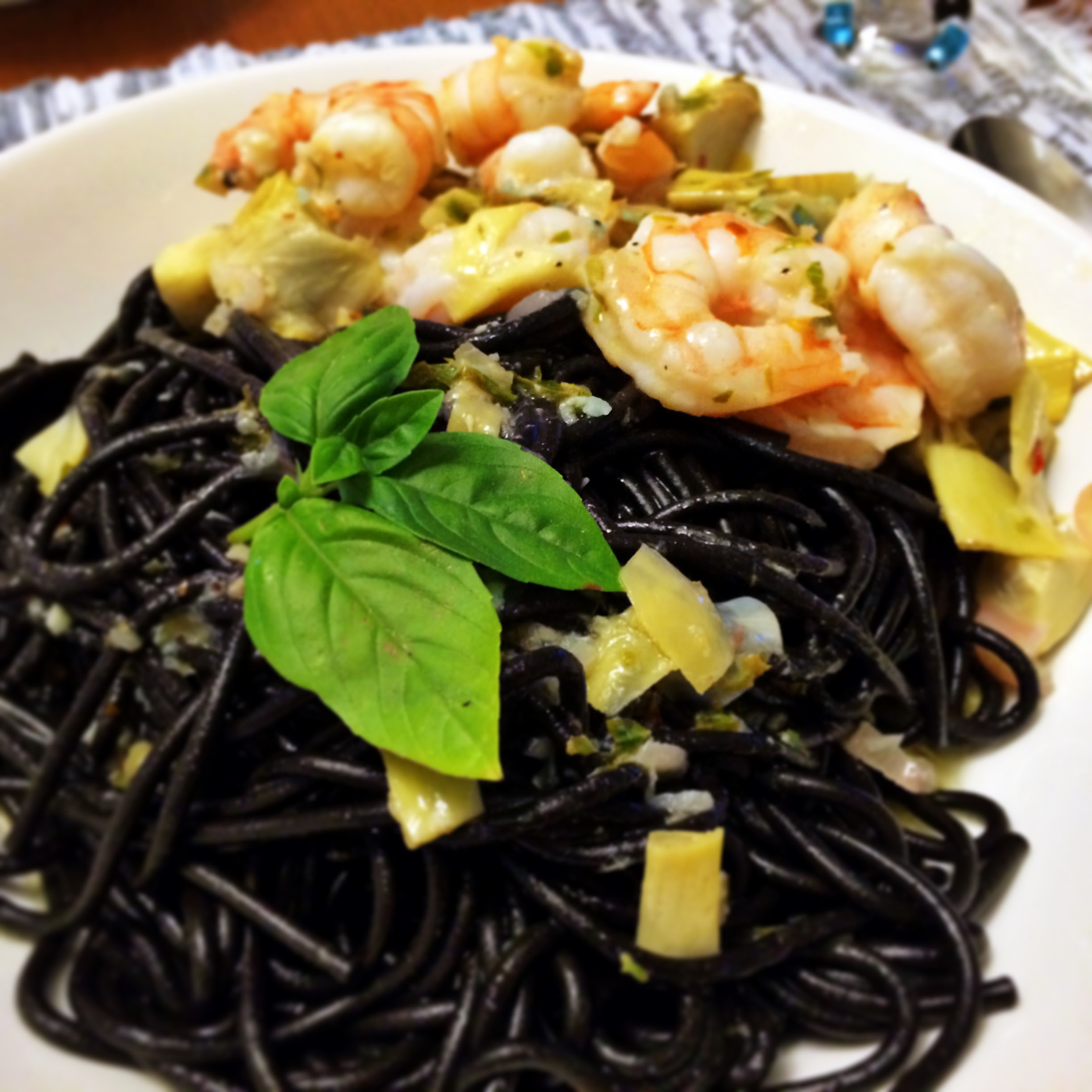 Squid Ink Pasta with Shrimp and Artichokes - The Gourmet ...