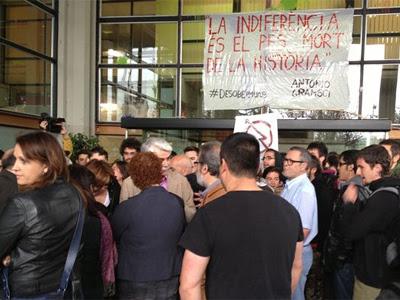 La protesta en la UAB esta mañana. EP