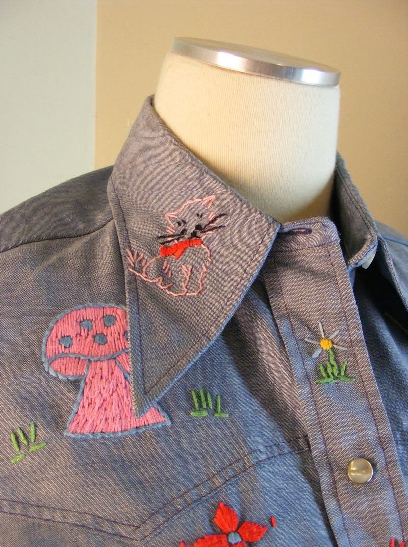 Vintage 70s pearl snap shirt hippie embroidered chambray top medium