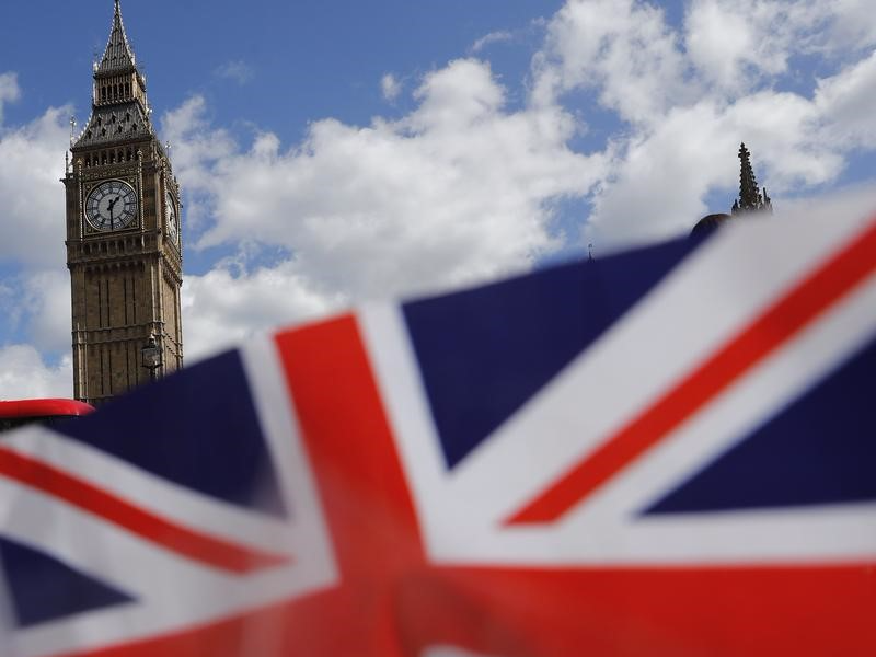 A union flag is seen near the Houses of Parliament in London, Britain April 18, 2017. REUTERS/Stefan Wermuth