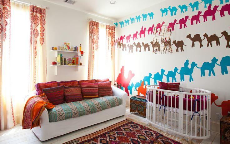 Laura U Interior Design | www.laurau.com Southampton Moroccan Interior Design #kidsroom #moroccan #nursery #bedroom #whimsical #headboard  #colorful #fun #playful #interior #interiordesign #camel #wallart #wallpaper