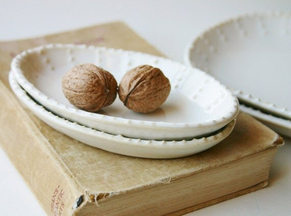 Small Oval Dishes - Creamy White French Country Dinnerware - Set of 2 - Four Color Choices