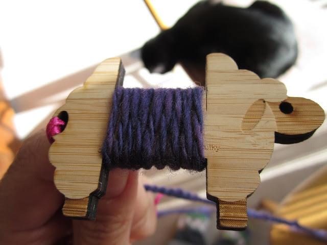 Bare Naked Knitspot spinning purple yarn Feb 2014 (9)
