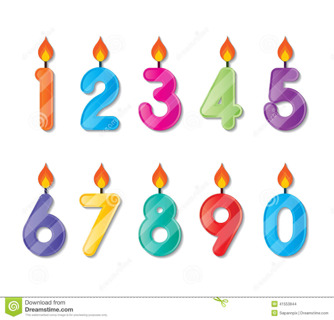 Number Candle Stock Illustration - Image: 41553844