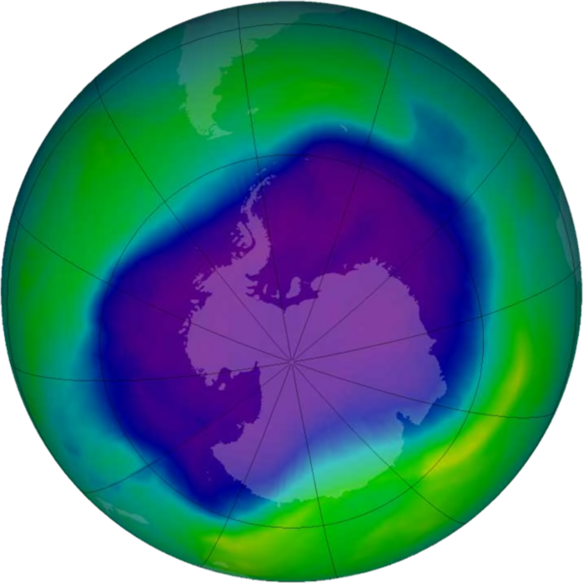 An image of the largest ever ozone hole ever recorded over Antarctica.