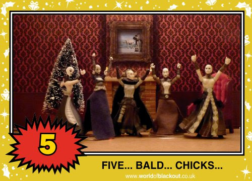 On the twelfth Wookiee Life Day, the Dark Side gave to me: FIVE - BALD - CHICKS...