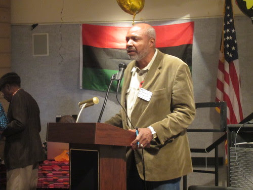 Abayomi Azikiwe, editor of the Pan-African News Wire, addressing a public forum on the International Year of Peoples of African Descent held at the Malcolm X Library in San Diego, California on November 19, 2011. Azikiwe was a featured speaker. by Pan-African News Wire File Photos