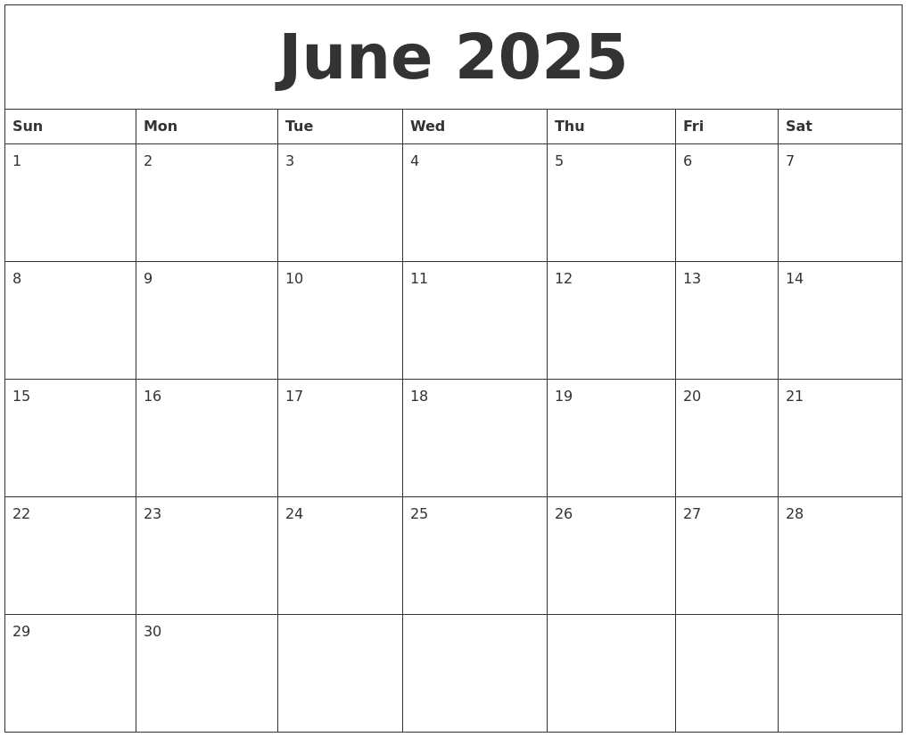 june 2025 free monthly calendar template