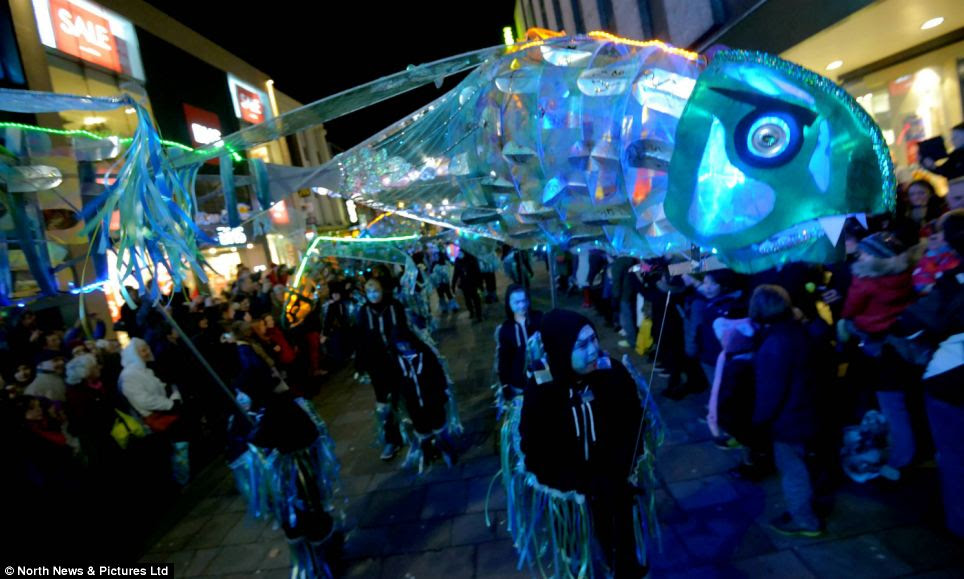 While organizers in cities like Chicago and New York were just starting to block off streets in preparation for the evening's events, festivities were well under way in Newcastle