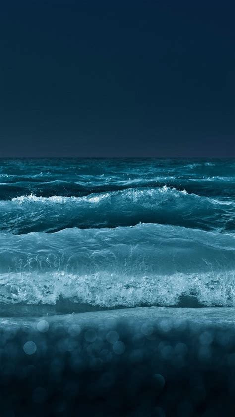 nature night ocean beach wave bokeh iphone  wallpaper