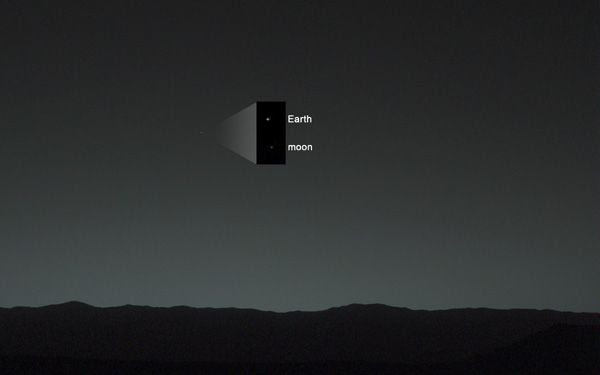 The Earth and its Moon as seen from the Curiosity rover on the surface of Mars...on January 31, 2014.