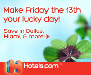 Save up to 50% during the Friday the 13th Sale with Hotels.com!