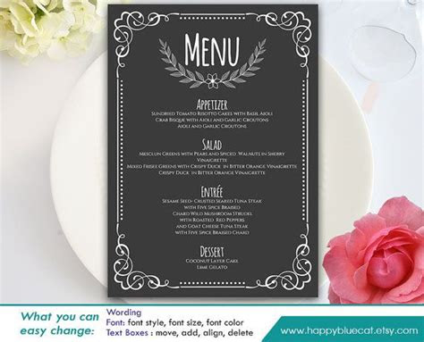 diy printable wedding menu template instant