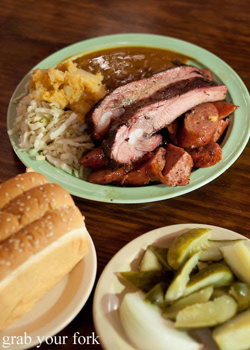 pork rib and sausage plate at the salt lick bbq driftwood austin texas