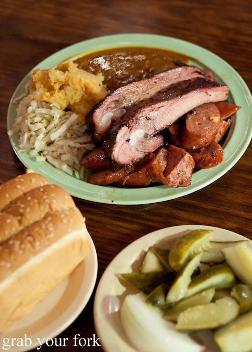 pork rib and sausage plate at the salt lick bbq driftwood austin texas