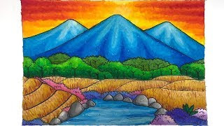 97+ Lukisan Pemandangan Dengan Crayon Mudah Terbaru