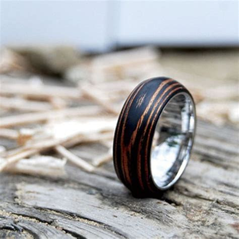 Titanium Wood Wedding Band Ring with Ebony & Mahogany by