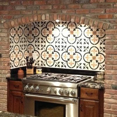 Custom Cement Tile Design for Kitchen Backsplash